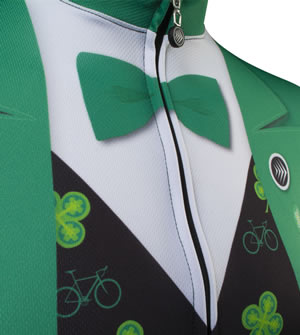 green tuxedo tie on St. Patrick's day cycle jersey