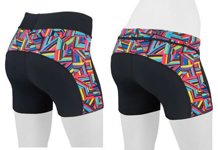 Back View of mini Bike shorts showing design lines that flatter and complement a cyclist.