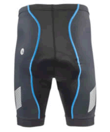 back view of padded cycling shorts