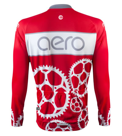 Back View of Red Cycling Jersey