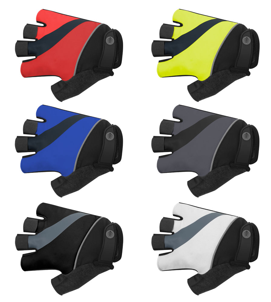 tempo bicycling fingerless gloves easy on and easy off gel padded in brilliant colors with safety reflectors tops