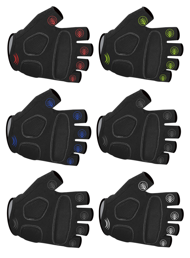 tempo bicycling fingerless gloves easy on and easy off gel padded in brilliant colors with gel finger grips palms