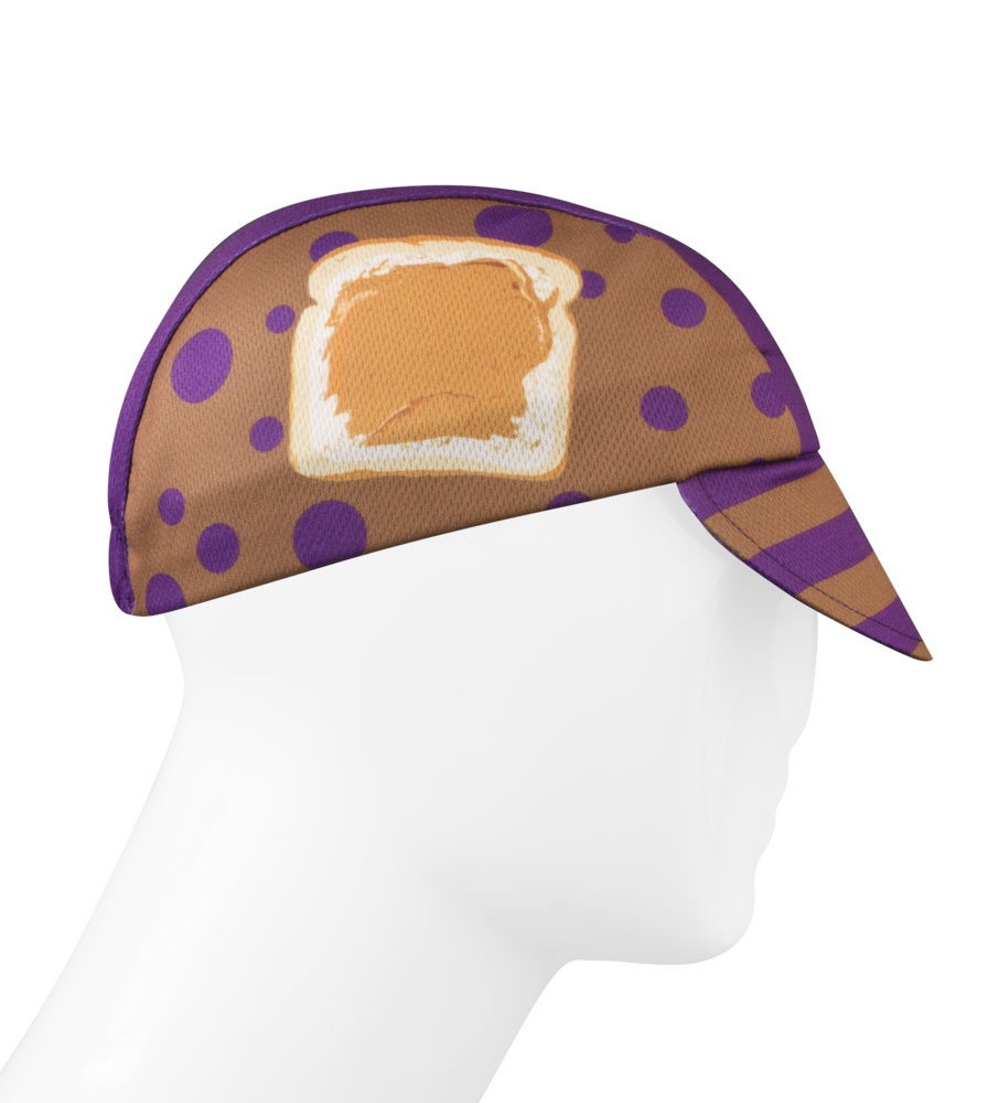 peanut butter and jelly cycling hat