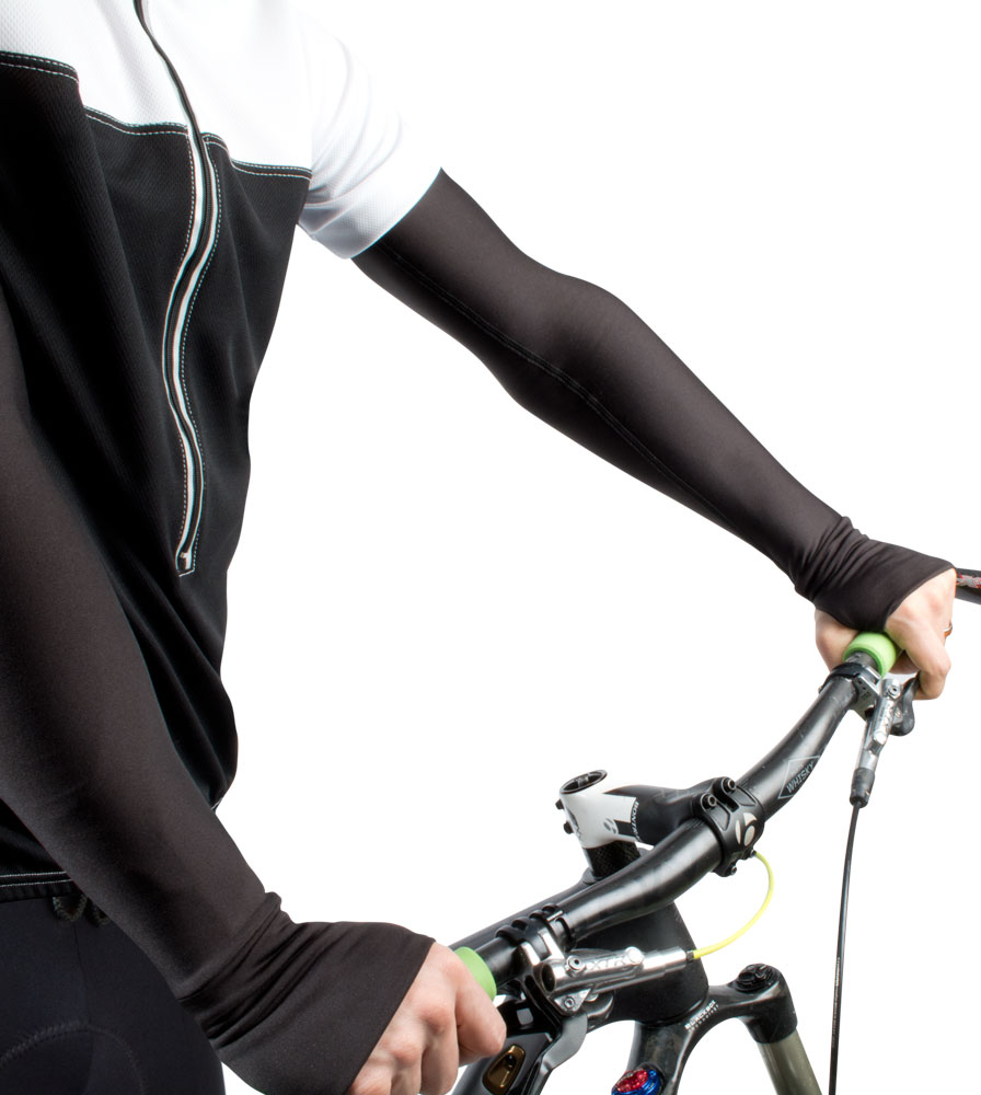 removable sleeve arm warmers  in xtra small, small, medium, large, xtra large, and xtra xtra xxlarge sizes . colorfull highly visible prints and in solid black or shite.