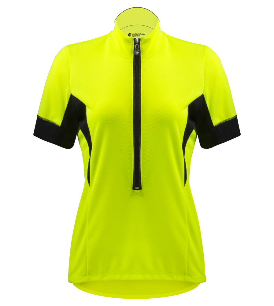 womens elite bicycling jersey safety yellow bike jersey made of soft micro mesh fabric that keeps you dry and comfortable