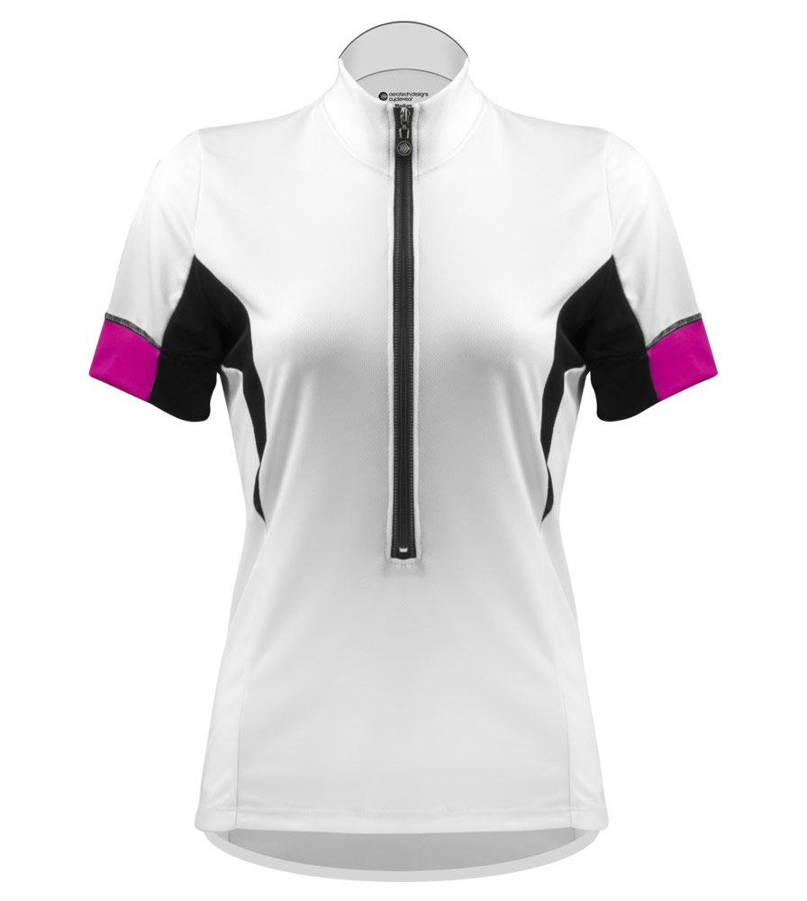 atd elite bright white bike jersey for women lady bike riders cool moisture wicking soft jersey fabric