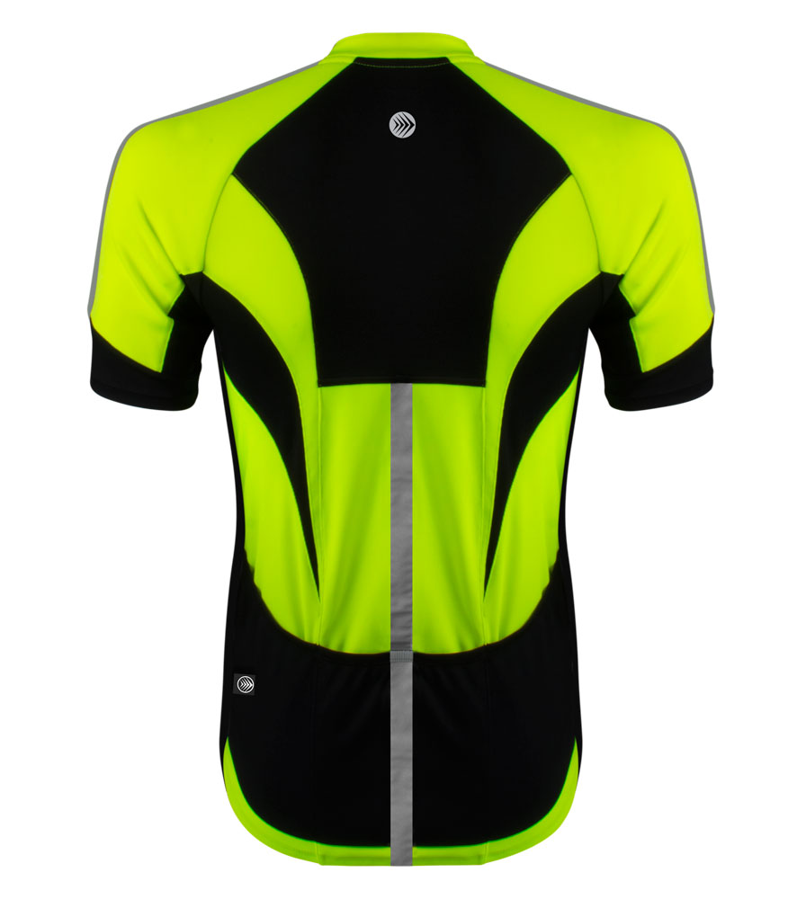 high visibility reflective safety bicycle jersey shown in neon yellow back