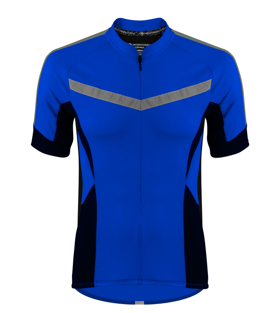 high visibility reflective safety bicycle jersey shown in royal blue front