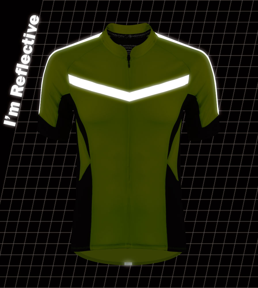 high visibility reflective safety bicycle jersey shown in dark front