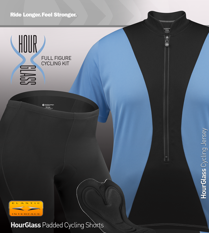 Matching Hourglass cycling shorts and jersey for the full figure riding kit