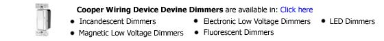 Cooper Wiring Device Devine Dimmers