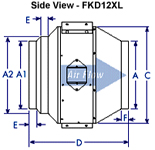 Fantech FKD12XL - FKD20 dimension