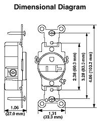 leviton 5461 gy 20 amp 250 volt nema 6 20r 2p 3w narrow body rh electricsuppliesonline com nema 6-20r wiring nema 6-20r receptacle wiring