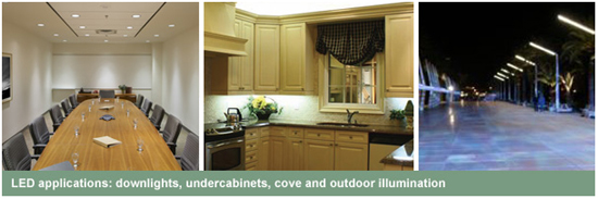 LED Applications: Downlights, Undercabinet, Cove and Outdoor Illumination