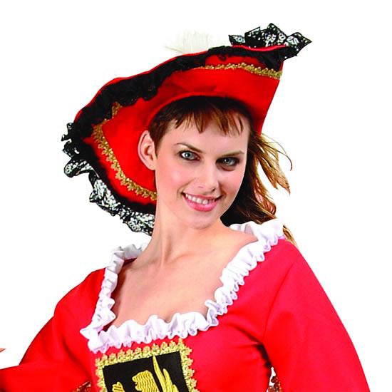 Adult Red Velvet Pirate Hat