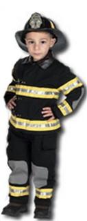 Child Firefighter Costume with Helmet- Black