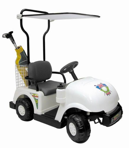 Battery-Powered Golf Cart Ride-On - White