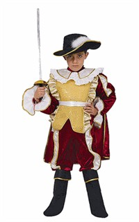 Child Musketeer Costume - Red and Yellow