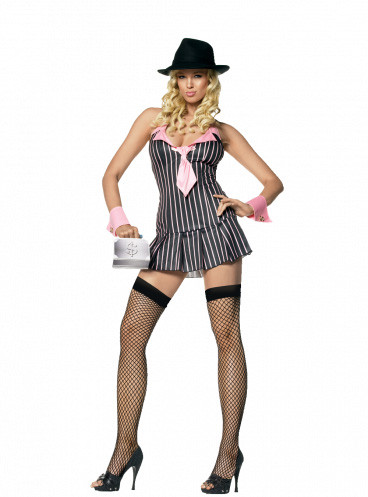 Leg Avenue Sexy Miss Mafia Pink Costume
