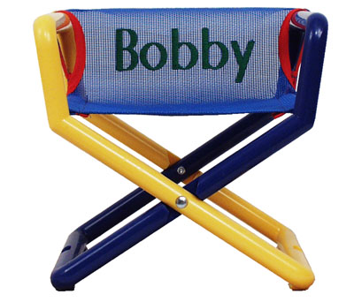 Hoohobbers Personalized Jr. Director's Chair/Booster - Blue (Mesh)