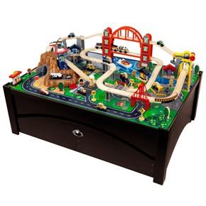 kidkraft metropolis train table kids train set wooden. Black Bedroom Furniture Sets. Home Design Ideas