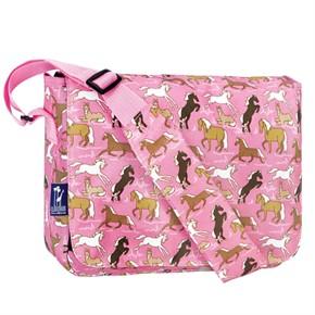 Kids Messenger Bag - Horses in Pink