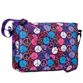 Kids Messenger Bag - Peace Signs Purple