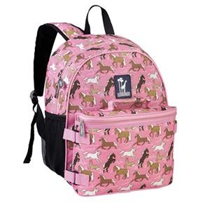 Kids School Backpack - Horses in Pink
