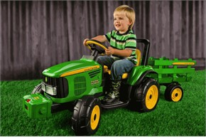 Peg Perego John Deere Battery-Powered Farm Power Tractor w/Trailer
