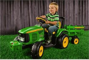 Peg Perego John Deere Battery-Powered Farm Power Tractor w/Trailer
