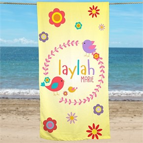 Personalized Flower Beach Towel