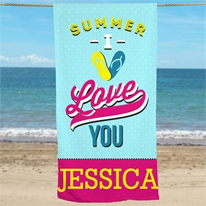 Personalized I Love Summer Beach Towel
