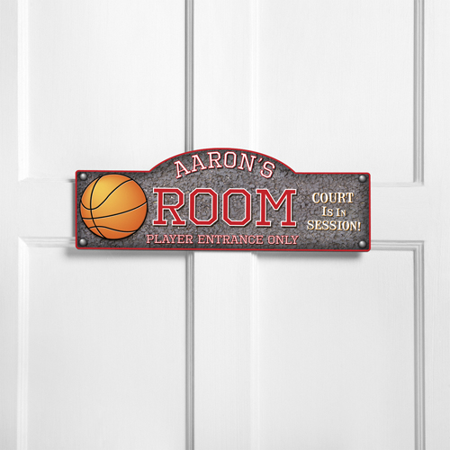 Personalized Kids Room Sign - Hoops