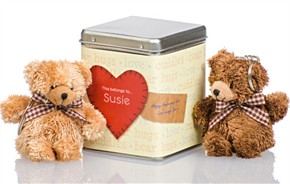 Personalized Teddy Bears Tin - Heart