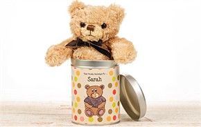 Personalized Teddy In A Tin - Dots