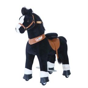 Ponycycle Horse Ride On Toy - Large - Black Horse w/ White Hoof & Black Mane
