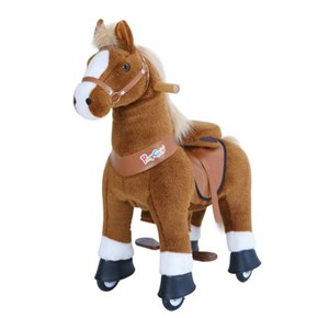 Ponycycle Horse Ride On Toy - Small - Brown w/ White Hoof