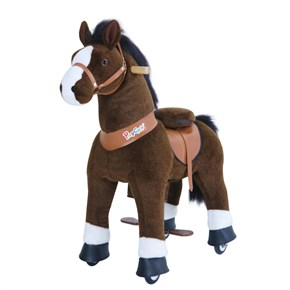 Ponycycle Horse Ride On Toy - Small - Chocolate Brown Horse w/ White Hoof