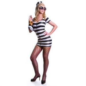 Sexy Heiress Prison Costume - White Stripes