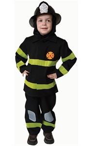 Kids Deluxe Fire Fighter Costume - Black