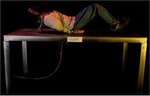 Tortured Body with Metal Table Haunted House Prop