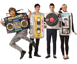 Retro 80s Costumes Set - Vinyl Record, Boombox, Pay Phone, Mix Tape