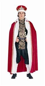 Adult King's Robe Costume - Red, Panne Velvet