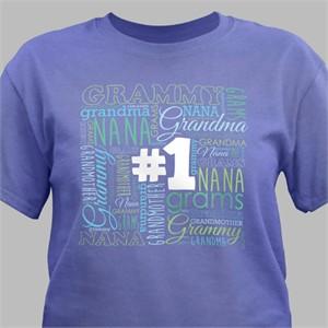#1 Grandma Word Art T-Shirt - Violet