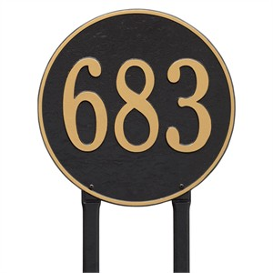 "Personalized 15"" Round Lawn Address Plaque - 1 Line"