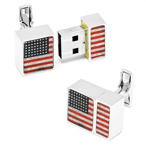 4 GB USA Flag USB Flash Drive Cufflinks