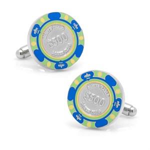 500 Dollar Blue Poker Chip Cufflinks