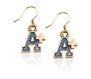 A+ Charm Earrings in Gold