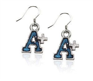 A+ Charm Earrings in Silver