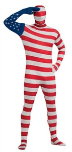 Adult 2nd Skin American Flag Bodysuit